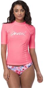 Animal Womens Vickie Short Sleeve UV50 Rash Vest Neon Orange CL8SN343