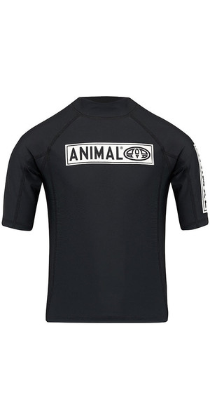 2018 Animal Junior Boys Fisk Short Sleeve Rash Vest Black CL8SN611