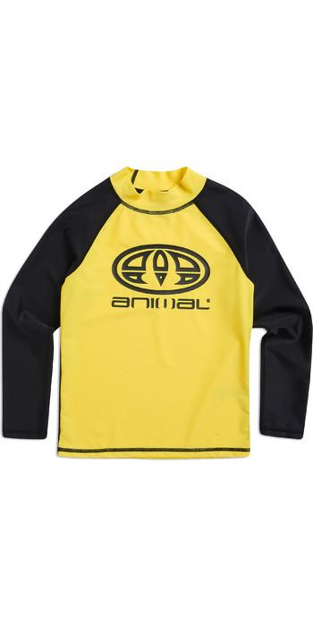2019 Animal Junior Boys Fontaine Long Sleeve Rash Vest Bright Yellow CL8SN612