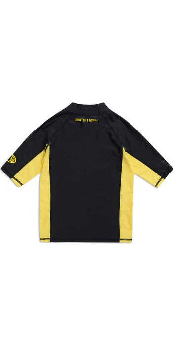 2019 Animal Junior Boys Hiltern Short Sleeve Rash Vest Black CL9SQ610
