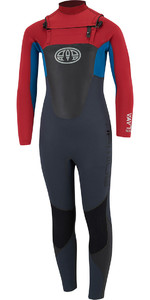 Animal Junior Boys Lava 4/3mm GBS Chest Zip Wetsuit Rich Red AW8SN603