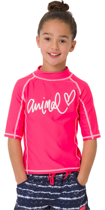 2019 Animal Junior Girls Molli Short Sleeve Rash Vest Psycho Red CL9SQ810