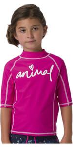 2020 Animal Junior Girls Molli Short Sleeved Rash Vest CL0SS812 - Raspberry Rose Pink