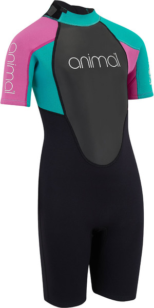 2019 Animal Junior Girls Nova 3/2mm Flatlock Shorty Wetsuit Black AW9SQ803