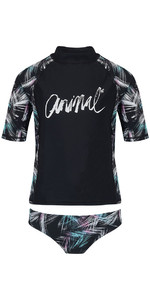 2018 Animal Junior Girls Pixie Short Sleeve 2-Piece Rash Vest Set Black CL8SN816