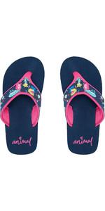 2020 Animal Junior Girls Swish Upper AOP Flip Flops / Sandals FM0SS801 - Indigo Blue