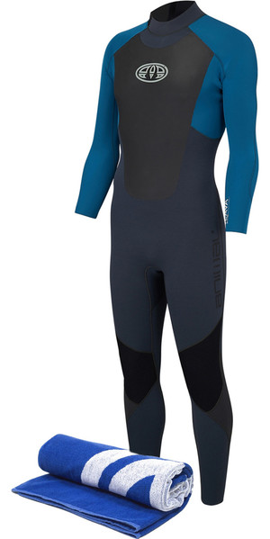 2018 Animal Lava 3/2mm GBS Back Zip Wetsuit Marina Blue AW8SN101 & Free Beach Towel