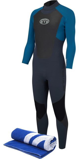 2018 Animal Lava 3/2mm Gbs Back Zip Wetsuit Marina Blue Aw8sn101 & Free Beach Towel Picture