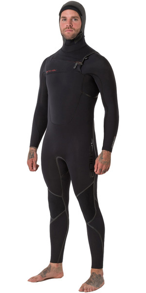 2018 Animal Mens Assassin V2 6/4mm Hooded GBS Chest Zip Wetsuit Black AW8WN101