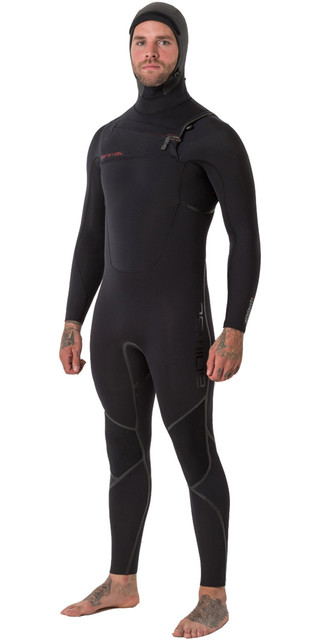 2018 Animal Mens Assassin V2 6/4mm Hooded Gbs Chest Zip Wetsuit Black Aw8wn101 Picture