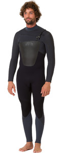2019 Animal Mens Lava 4/3mm GBS Chest Zip Wetsuit Black AW9SQ004