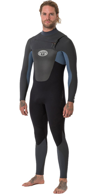 2018 Animal Mens Lava 5/4/3mm Chest Zip Gbs Wetsuit Pewter Blue Aw8wn107 Picture