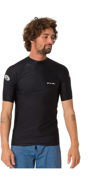 2019 Animal Mens Loet Short Sleeve Rash Vest Black CL9SQ016