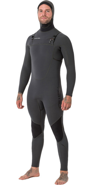 2018 Animal Mens Phoenix Pro 5/4/3mm Hooded Gbs Chest Zip Wetsuit Graphite Grey Aw8wn100 Picture