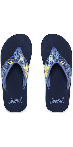 2018 Animal Swish Upper AOP Womens Flip Flops Dark Navy FM8SN307