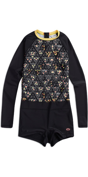 2019 Animal Womens Hannah Flo Long Sleeve Rash Onesie Black CL9SQ343