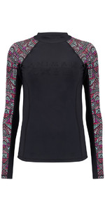 Animal Womens Keshia Waves Long Sleeve Rash Vest Black CL8SN345