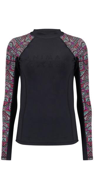 2018 Animal Womens Keshia Waves Long Sleeve Rash Vest Black Cl8sn345 Picture