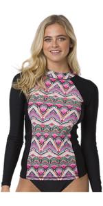2020 Animal Womens Keshia Waves Long Sleeved Rash Vest CL0SS322 - Black