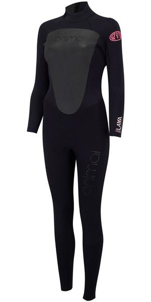2018 Animal Womens Lava 4/3mm Back Zip GBS Wetsuit Black AW8SN300