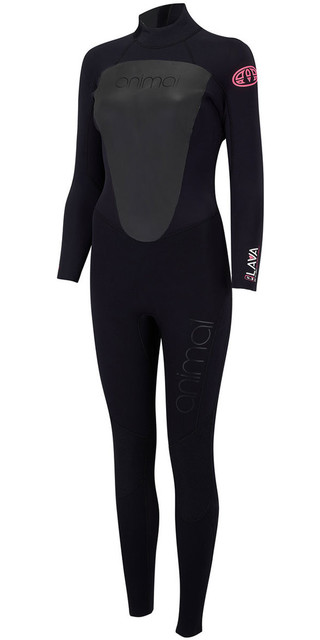 2018 Animal Womens Lava 4/3mm Back Zip Gbs Wetsuit Black Aw8sn300 Picture