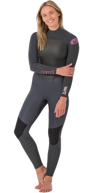 2018 Animal Womens Lava 5/4/3mm Back Zip Gbs Wetsuit Graphite Grey Aw8wn301 Picture