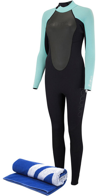 2018 Animal Womens Nova 3/2mm Flatlock Back Zip Wetsuit Black Aw8sn302 & Free Beach Towel Picture
