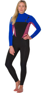 2019 Animal Womens Phoenix 5/4/3mm GBS Chest Zip Wetsuit Blue / Pink AW9WQ300