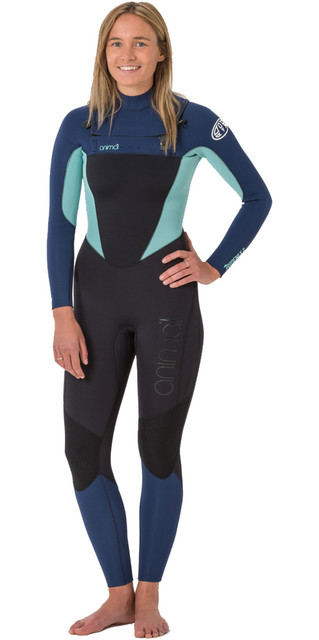 2018 Animal Womens Phoenix 5/4/3mm Gbs Chest Zip Wetsuit Black Aw8wn303 Picture