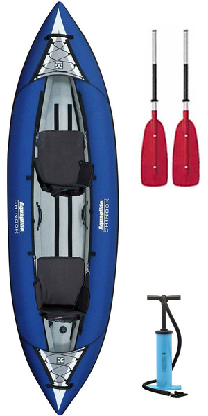 2018 Aquaglide Chinook 2 Man Inflatable Kayak BLUE + 2 FREE PADDLES + Pump