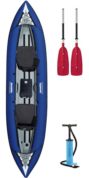 2018 Aquaglide Chinook Tandem 3 Man Inflatable Kayak BLUE & 2 PADDLES & Pump