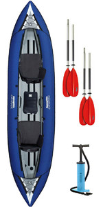 2019 Aquaglide Chinook Tandem XL Inflatable Kayak BLUE & 2 PADDLES & Pump