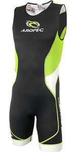 2019 Aropec Mens Tri-Compress TX 1 Back Zip Lycra Triathlon Suit Black Lime SS3TC109MBZ