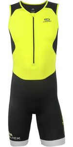 2019 Aropec Mens Tri-Slick Lycra Triathlon Suit Black Yellow SS3TS115M