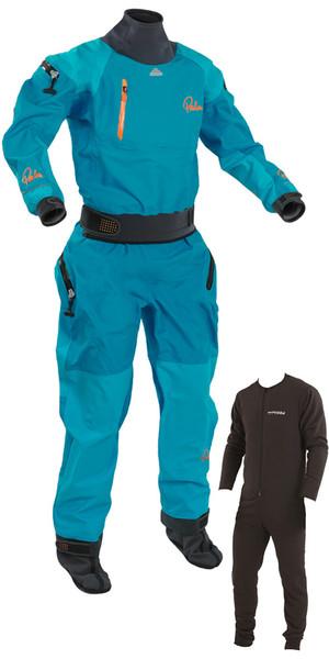 2018 Palm Womens Atom Whitewater Relief Zip Kayak Drysuit + Underfleece Aqua 11737