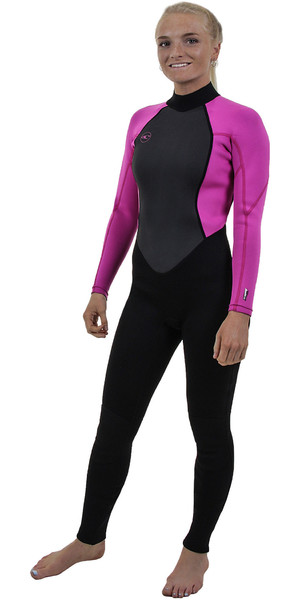 2018 O'Neill Womens Reactor II 3/2mm Back Zip Wetsuit BLACK / BERRY 5042