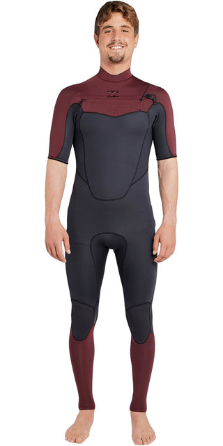 2018 Billabong Absolute 2mm Chest Zip Short Sleeve Wetsuit Biking Red H42m25 Picture