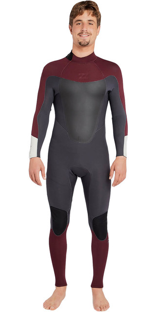 2018 Billabong Absolute 3/2mm Gbs Back Zip Wetsuit Biking Red H43m16 Picture