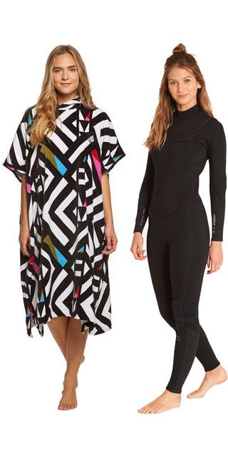2018 Billabong Womens Furnace Synergy 4/3mm Chest Zip Wetsuit Black L44g03 & Salty Poncho Bundle Picture