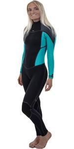 O'Neill Womens Psycho One 5/4mm Back Zip Wetsuit BLACK / Breeze 5121