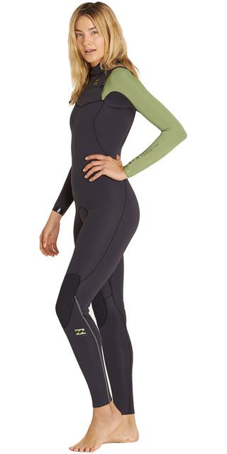 2018 Billabong Ladies Furnace Carbon Comp 4/3mm Chest Zip Wetsuit Black Sands F44g10 Picture