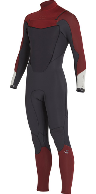 2018 Billabong Absolute 3/2mm Gbs Chest Zip Wetsuit Biking Red H43m14 Picture