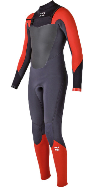 2018 Billabong Junior Absolute Comp 4/3mm Chest Zip GBS Wetsuit ORANGE H44B07