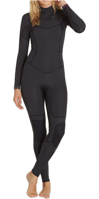 2018 Billabong Womens 4/3mm Synergy Chest Zip Wetsuit Black Sands F44g11 Picture