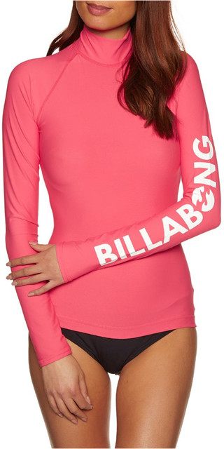 2018 Billabong Womens Logo Long Sleeve Rash Vest Passion Fruit H4gy02 Picture