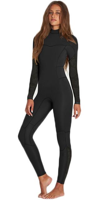 2018 Billabong Womens Synergy 3/2mm Flatlock Back Zip Wetsuit Black H43g12 Picture