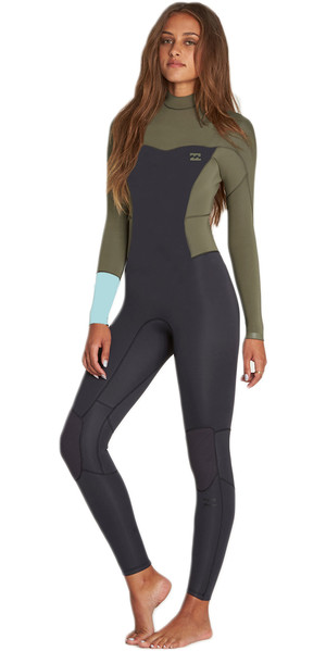 2018 Billabong Womens Synergy 3/2mm Flatlock Back Zip Wetsuit MOSS H43G12