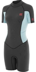 2020 Billabong Womens Launch 2mm Back Zip Shorty Wetsuit 042G19 - Grey