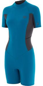 2020 Billabong Womens Launch 2mm Back Zip Shorty Wetsuit 042G19 - Pacific