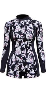 2018 Billabong Womens Spring Fever 2mm Back Zip Long Sleeve Boy Leg Shorty Wetsuit BLACK SANDS H42G12